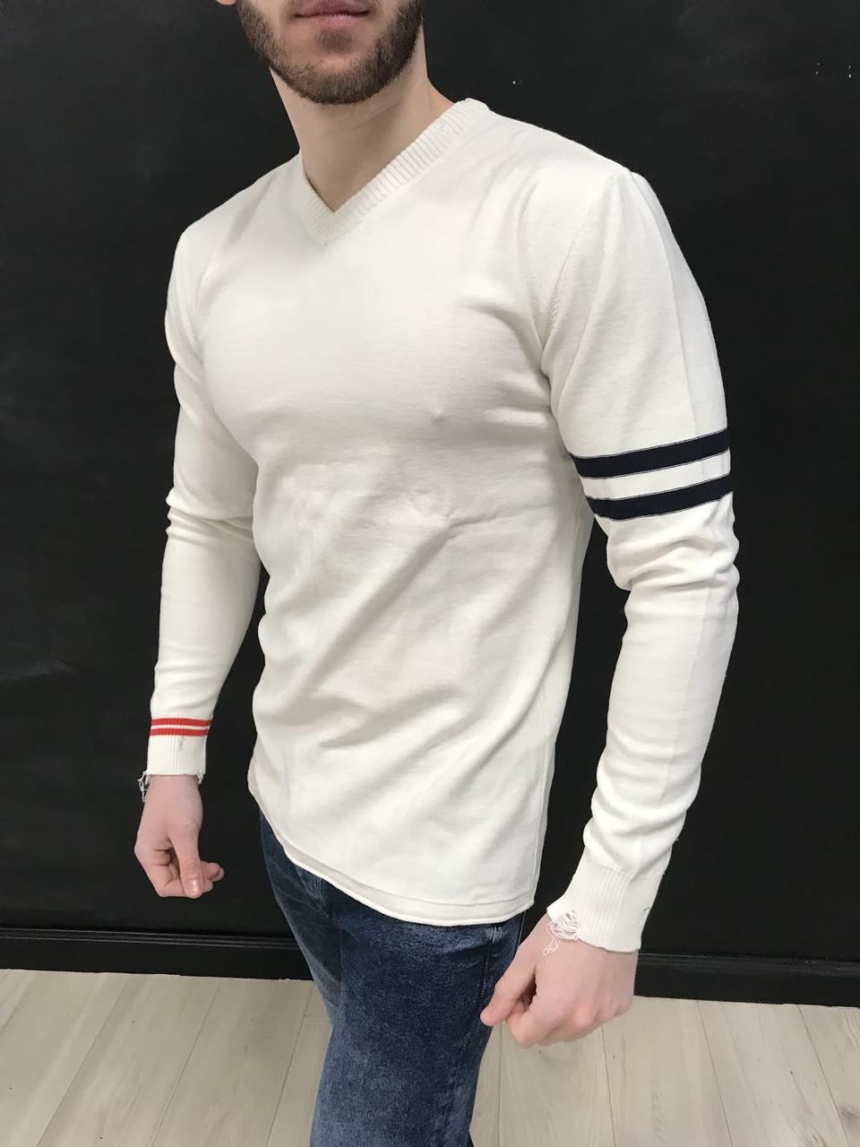 Свитер белого с полосами на плече 2YPREMIUM {S}