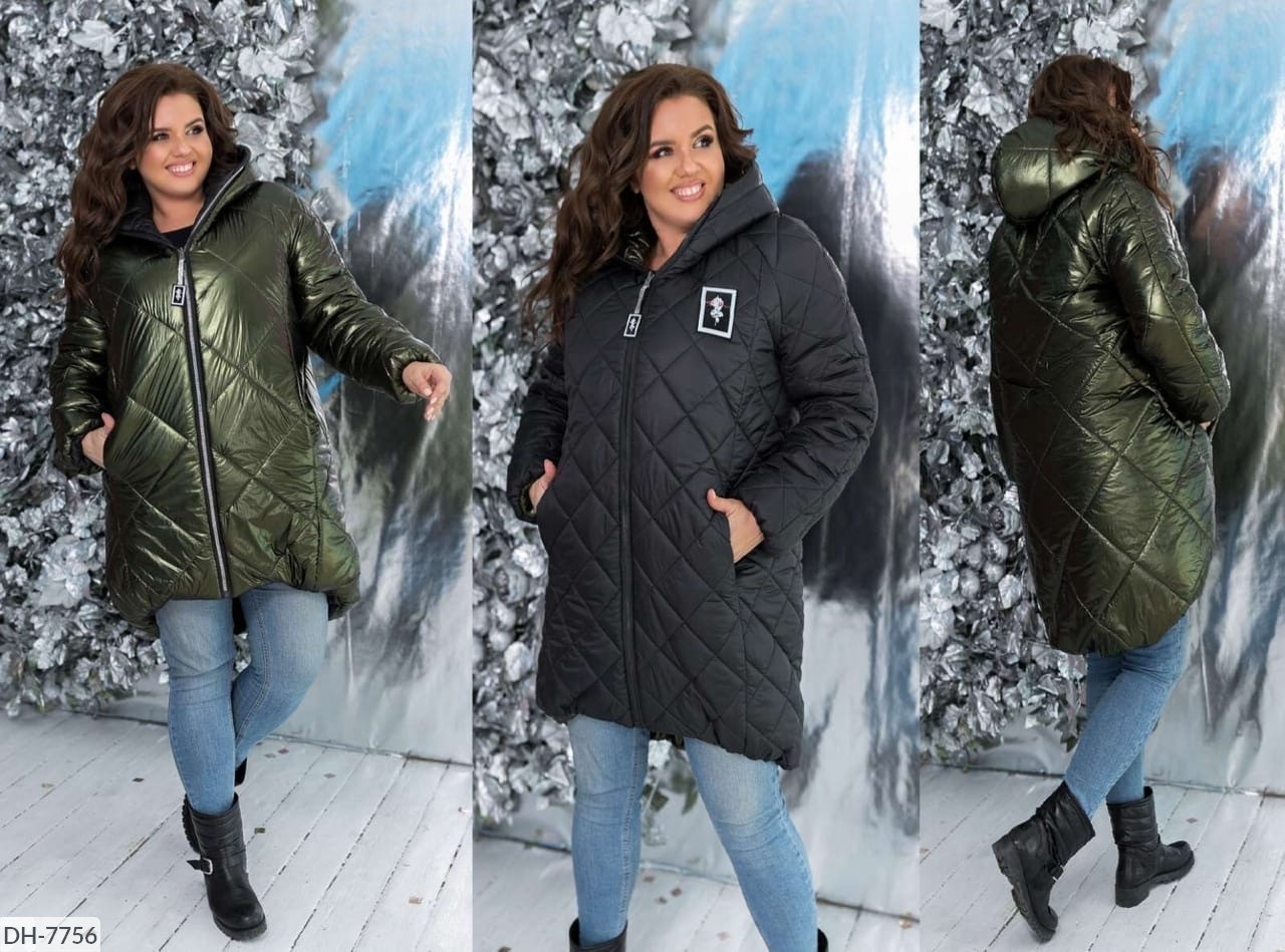 Женская зимняя куртка больших размеров двусторонняя размеры 48-64