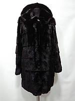 Шуба из канадской норки с капюшоном съёмные рукава и низ цвет-чёрный бриллиант длина 90см-70см 48р 50р 52р