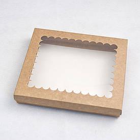 Коробка для пряников с окном крафтовая 20*17*3 см, 5 шт