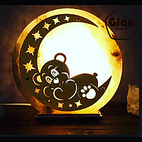 """Соляная лампа светильник """"Мишка на луне"""""""