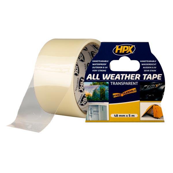 ALL WEATHER TAPE - прозрачная ремонтная лента (скотч) HPX для стекла, пластика и пленок - 48мм x 5м
