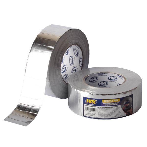 ALU/ARM - Сверхпрочная алюминиевая клейкая лента (скотч) HPX армированная стеклосеткой - 50мм x 50м