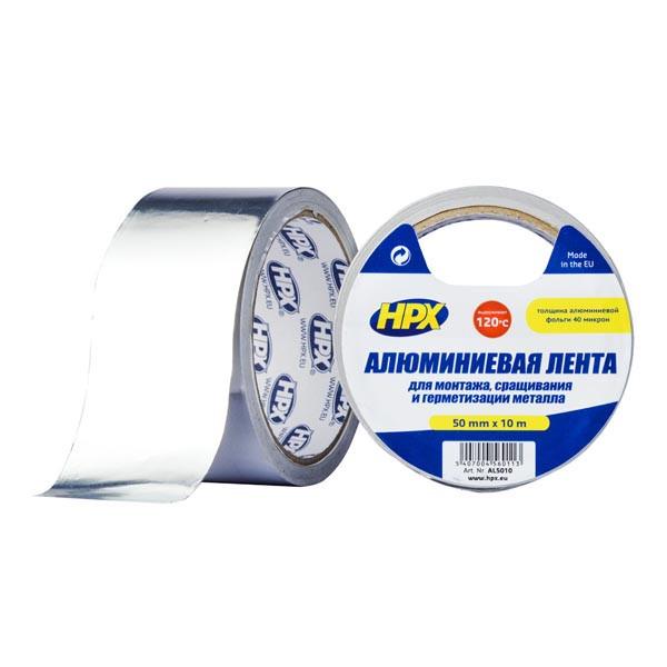 Высокотемпературная алюминиевая клейкая лента (скотч) HPX - 120°С 40 микрон - 50мм x 10м