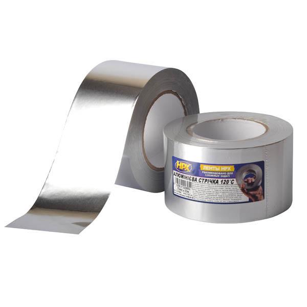 HPX AL 120°С 30мкм - 75мм x 50м - высокотемпературная алюминиевая клейкая лента (алюминиевый скотч)