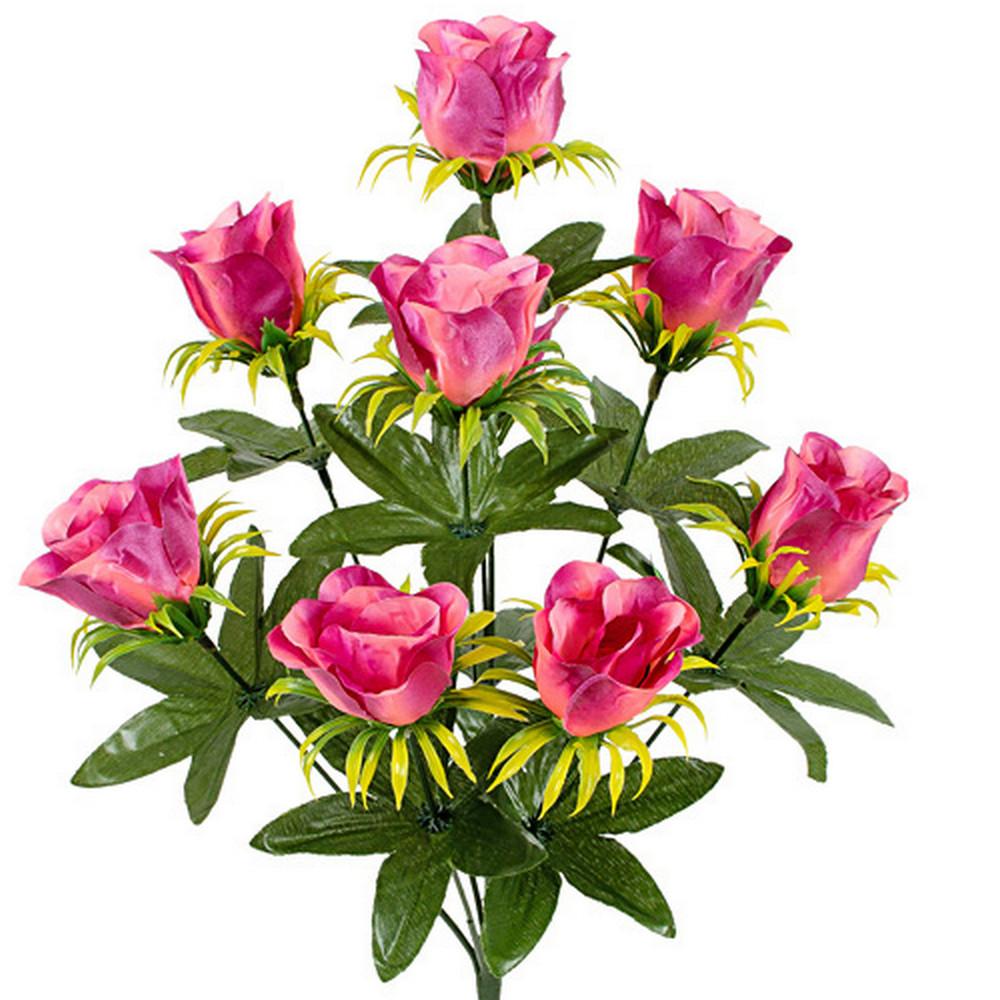Букет атласные бутоны розы, 42см (20 шт в уп.)
