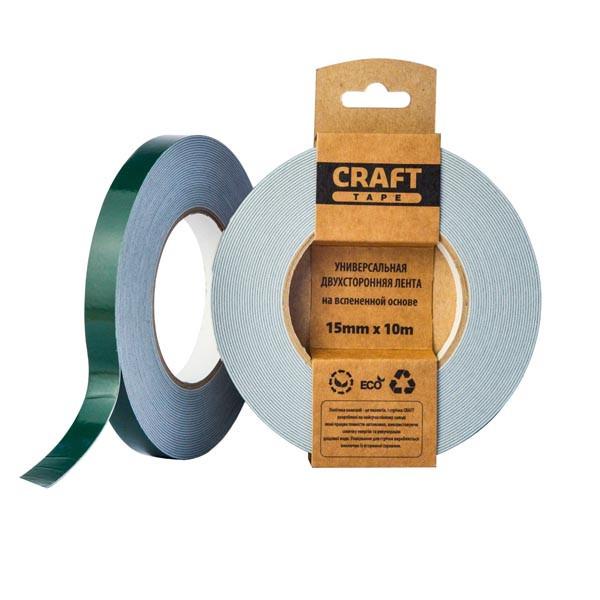 Craft Tape - белая двусторонняя лента (скотч) для творчества - 15мм x 10м