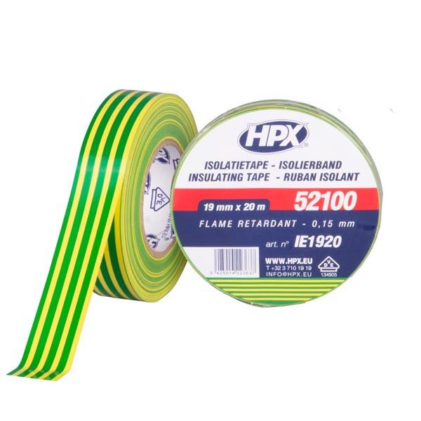 Автомобильная изоляционная лента HPX 52100 - VDE-стандарт - 19мм x 20м - желто-зеленая