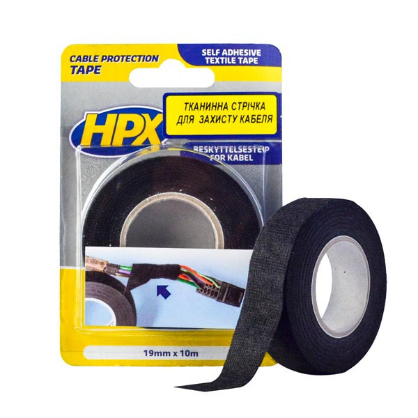 Самоклеющаяся текстильная лента HPX для жгутирования и защиты кабелей - анти-скрип  - 19мм x 10м