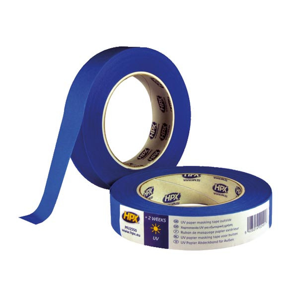 НРХ UV - синяя маскирующая малярная лента (скотч) для наружных работ - 25мм х 50м