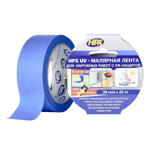 НРХ UV - синяя маскирующая малярная лента (скотч) для наружных работ - 38мм х 25м