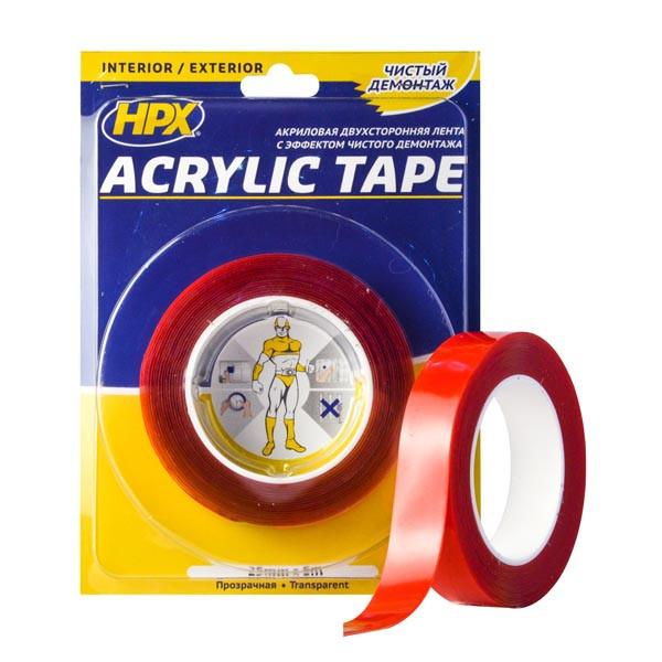 Двухсторонняя акриловая лента (силиконовый скотч) ACRYLIC TAPE, прозрачная - 25мм x 5м