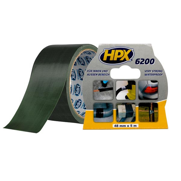 HPX 6200 - армированная ремонтная лента (скотч), оливковая - 5м