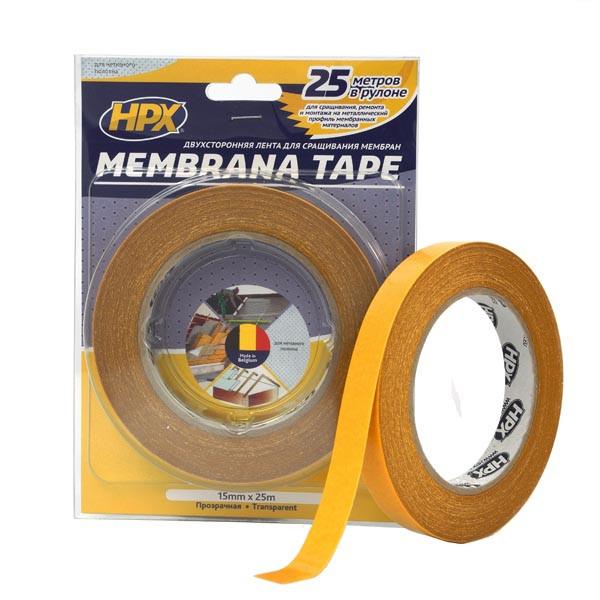 MEMBRANA TAPE - прозрачная двусторонняя лента (скотч) для строительных мембран и нетканых полотен - 15мм x 25м
