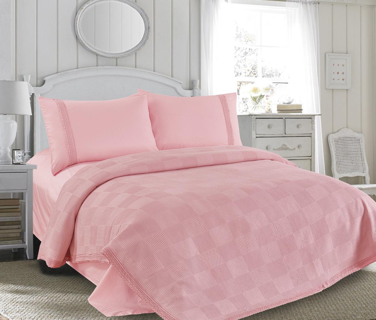 Постель 220х240 Love You сатин с вафельной простыней Розовый