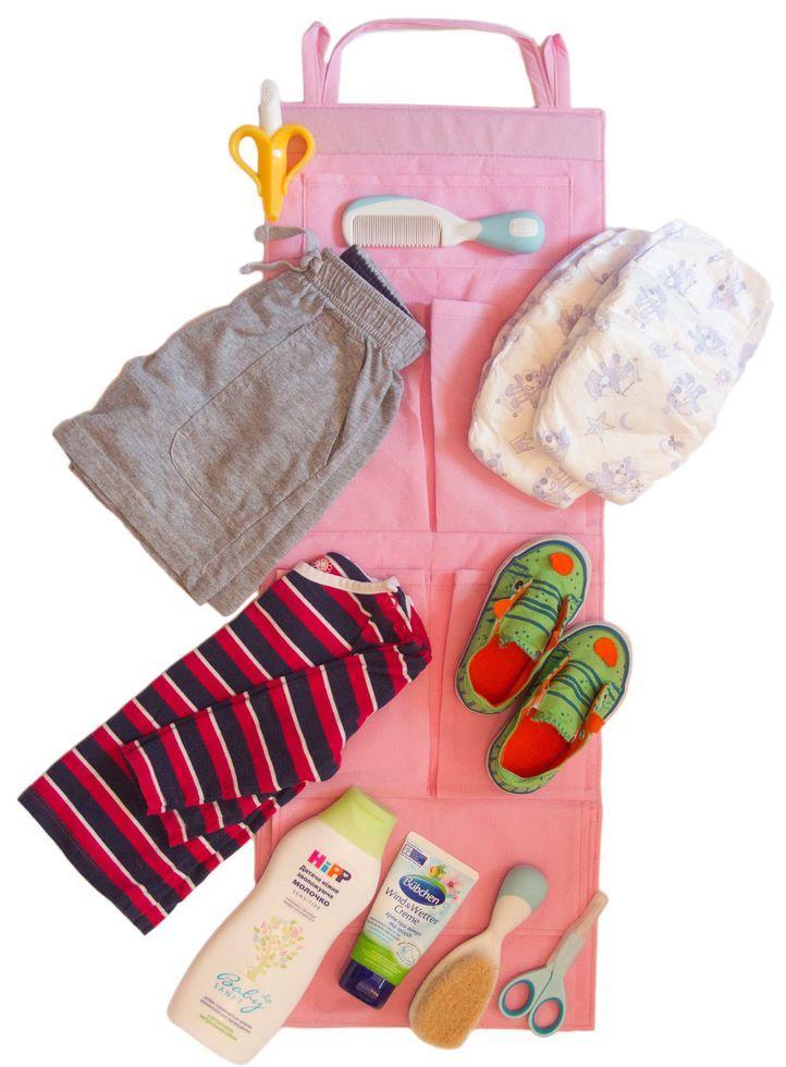 Подвесной органайзер для шкафчика в детский сад ORGANIZE E002 розовый