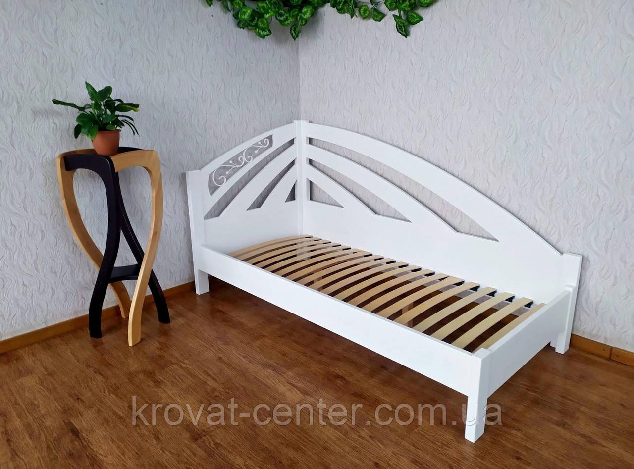 """Белая односпальная деревянная кровать """"Радуга Люкс"""""""
