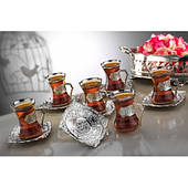Чайные армуды Sena Damla серебристый 6 штук