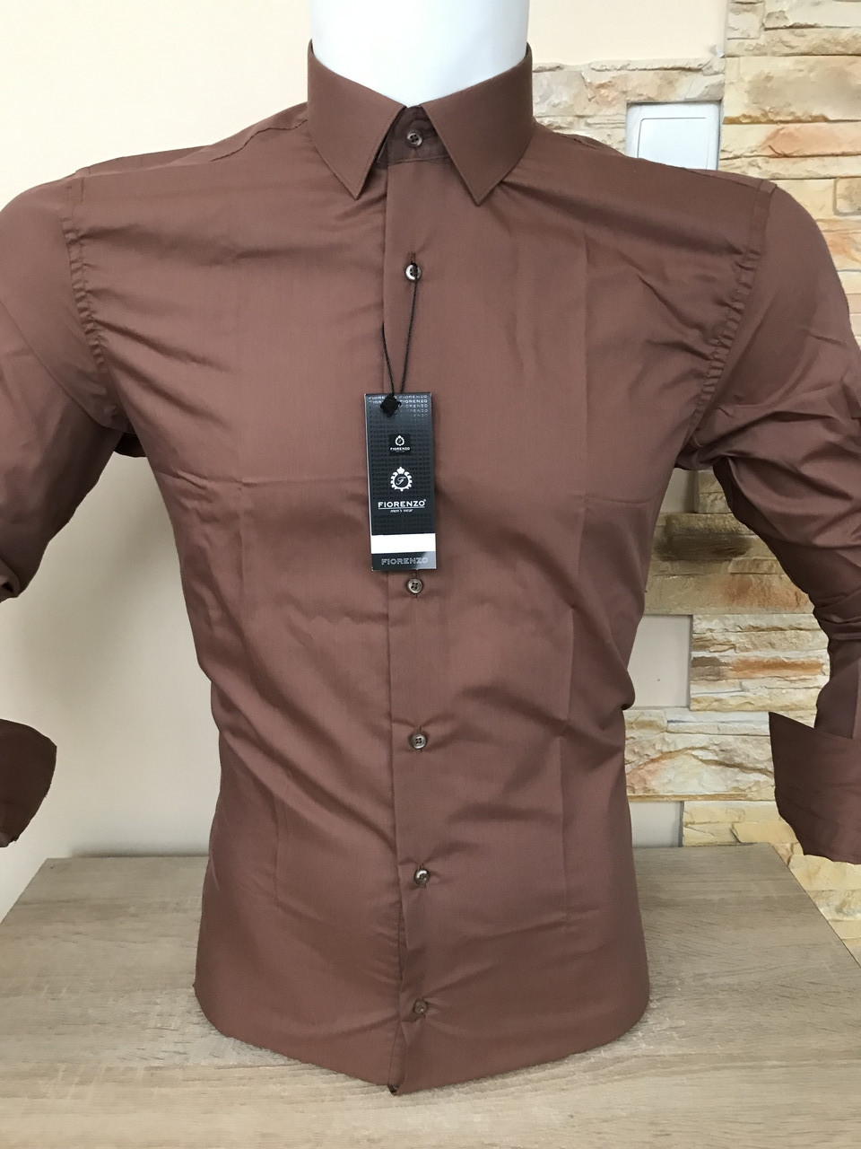 Однотонна сорочка Fiorenzo slim (ґудзик)