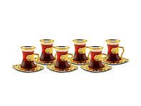 Набор восточных стаканов для чая Sena Damla золотистый на 6 персон, фото 1