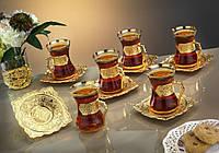 Чайные армуды Sena Damla золотистый 6 штук, фото 1