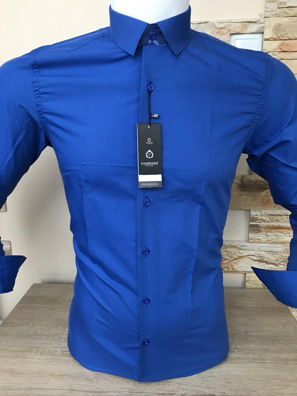Однотонная рубашка Fiorenzo slim (пуговица)