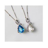 Підвіска кулон (колір білий, синій) з ланцюжком ювелірна біжутерія сріблення 445-р, фото 1