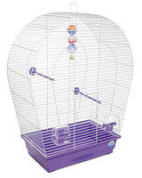 Клетка «Арка большая» для мелких и средних декор. птиц (белый/фиолетовый), Природа™