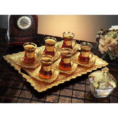 Набор чайных стаканов Doreline Damla золотистый на 6 персон