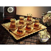 Набор чайных стаканов Doreline Damla золотистый на 6 персон, фото 1