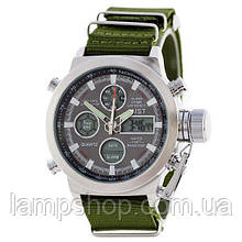 AMST 3003 Silver-Black Green Wristband