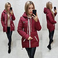 Куртка парка зима арт. 204 марсала / бордо / вишня, фото 1
