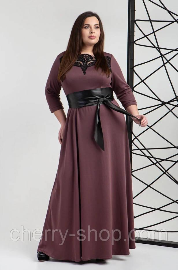 Довге плаття з французького трикотажу з шкіряним поясом