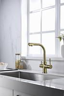 Смеситель Blue Water Alabama золото для кухни с каналом питьевой воды в корпусе смесителя 3 в 1