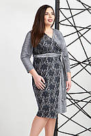 Платье запахом из трикотажа светло серого цвета, фото 1
