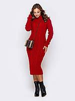 Облегающее вязаное платье длины миди с воротником-стойкой терракотовый