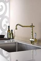 Смеситель для кухни Blue Water Sycylia золото с керамической ручкой