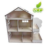 Кукольный домик без мебели с мансардой. Домик из дерева