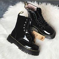 Dr. Martens Jadon Fur Gloss Black (мех) | берцы/ботинки женские; черные; зимние; платформа; блестки; с мехом 39eur - 25.0cm