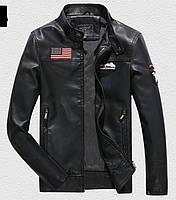 Pintuo мужская куртка в стиле милитари экокожа, фото 1