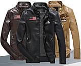 Pintuo мужская куртка в стиле милитари экокожа, фото 2