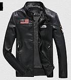 Pintuo мужская куртка в стиле милитари экокожа, фото 3