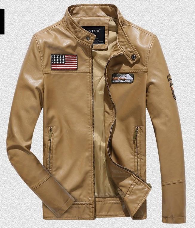 Pintuo мужская куртка в стиле милитари экокожа