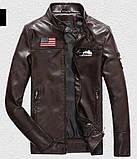Pintuo мужская куртка в стиле милитари экокожа, фото 4