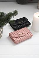 Шкіряний жіночий клатч-гаманець Miu Miu / Жіночий клатч з натуральної шкіри, колір пудра