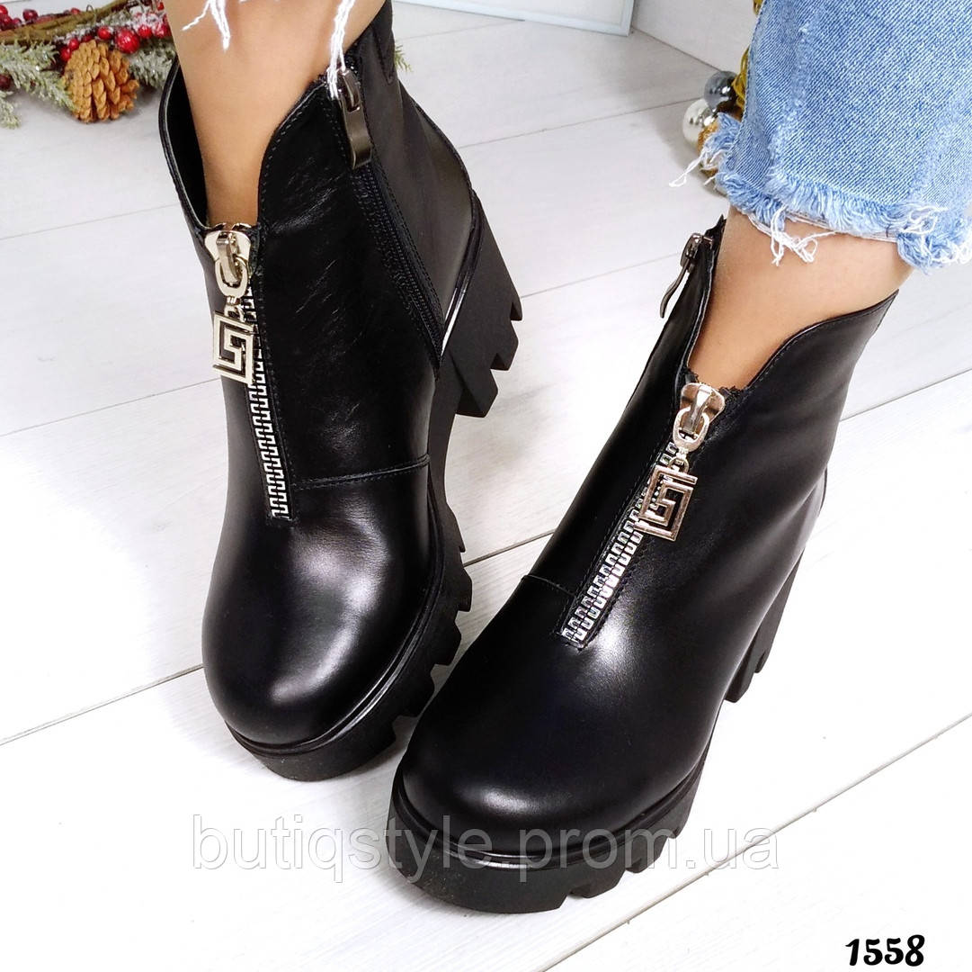 37 размер Зимние черные ботинки натуральная кожа с молнией-декором спереди