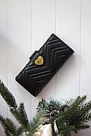 Шкіряний жіночий клатч-гаманець Gucci / Жіночий клатч з натуральної шкіри, колір чорний