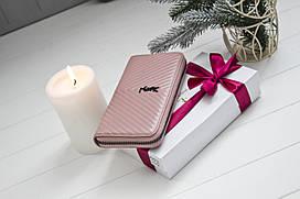 Шкіряний жіночий клатч-гаманець / Жіночий клатч з натуральної шкіри пудра/ніжно-рожевий