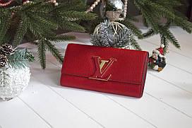 Жіночий клатч Louis Vuitton, з натуральної шкіри / Гаманець Луї Вюіттон червоний
