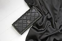 Кожаный женский клатч-кошелек / Женский клатч из натуральной кожи, цвет черный